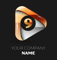 Golden number nine logo in golden-silver triangle vector