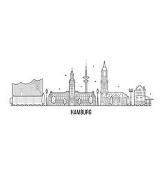 hamburg skyline silhouette linear style vector image