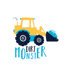 hand drawing digger print design with slogan vector image
