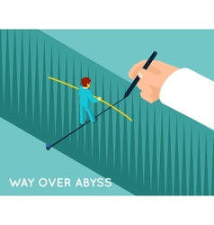 Hand drawing way over abyss for businessman vector