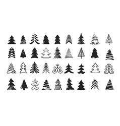 hand drawn christmas tree icons doodles and vector image