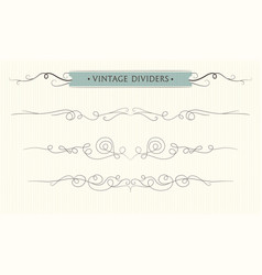 hand drawn flourishes vintage divider elements vector image