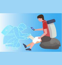Help online medical care for hiker injured knee vector