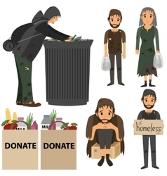 Homeless people collection vector