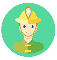 Icon man firefighter in a flat style image vector