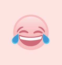 isolated pink laugh and crying tear flat icon vector image