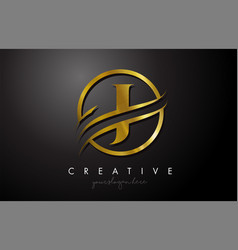J golden letter logo design with circle swoosh vector