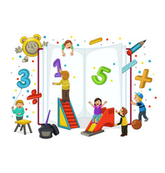 kids playing and reading vector image