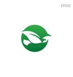 leaf bird logo design icon element isolated vector image