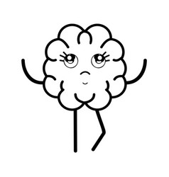 line icon adorable kawaii brain expression vector image