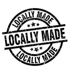 Locally made round grunge black stamp vector