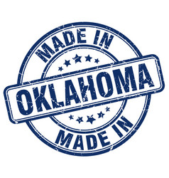 Made in oklahoma blue grunge round stamp vector