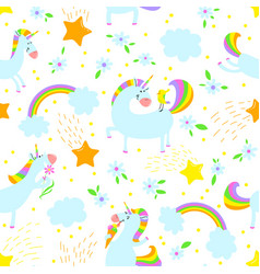 Magic unicorns background seamless pattern with vector