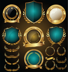 Medieval gold and blue shields laurel wreaths and vector
