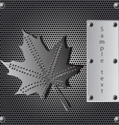 Metal shield maple leaf vector