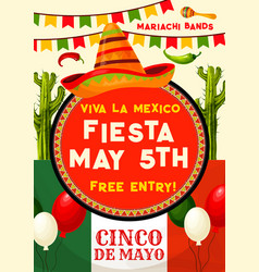 Mexican party invitation for cinco de mayo holiday vector