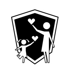 mother and daughter with hearts and shield vector image