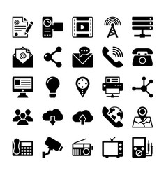 network and communication icons 4 vector image