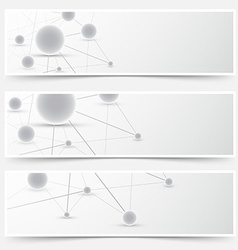 New molecule headers footers templates set vector