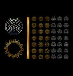 ornamental golden silver round lace background vector image