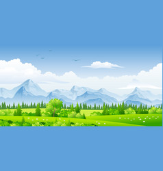 Panorama landscape with trees and mountains vector