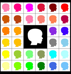 people head sign felt-pen 33 colorful vector image
