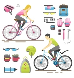 People on bicycles riders vector image