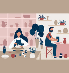Pottery hobby handcrafted earthenware people vector