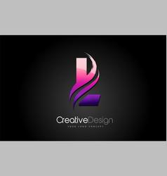 purple violet l letter design brush paint stroke vector image