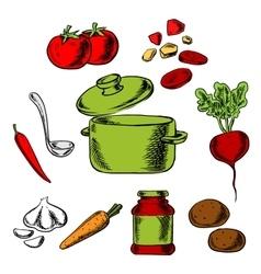 Recipe of tasty vegetarian soup vector
