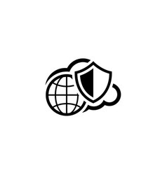 Safety global cloud icon flat design vector