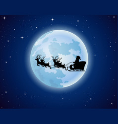 santa claus boarded a deer sledscenery moon vector image