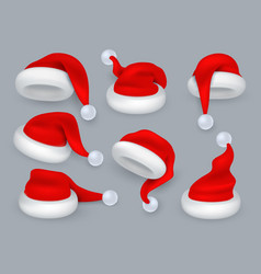 santa hats christmas 3d santa claus hat winter vector image