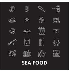 sea food icons editable line icons set on vector image