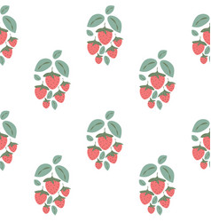 Seamless pattern with strawberry bushes vector