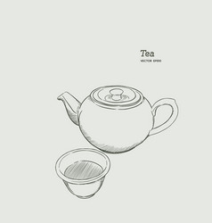 set of hot tea kettle and glass hand draw sketch vector image