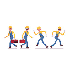 Set of male worker walking and running rear and vector