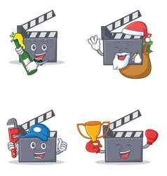 Set of movie clapper character with beer gift vector