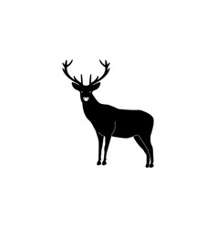 silhouette deer with great antler black on white vector image