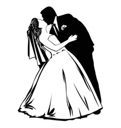Silhouettes of kissing bride and groom vector