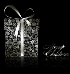 silver Christmas gift box vector image
