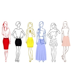 Sketches of girls in skirts vector