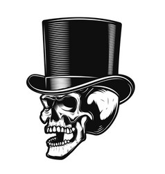Skull in gentleman hat design element for poster vector