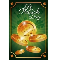 st patrick day gold coins shiny celebration vector image