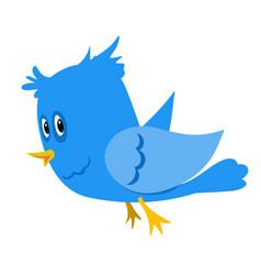 Stock blue cartoon bird vector
