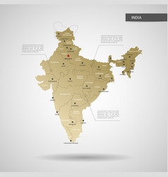stylized india map vector image