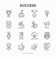 Success thin line icons set vector