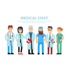 Team doctors nurses and other hospital workers vector