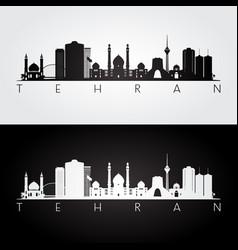 Tehran skyline and landmarks silhouette vector