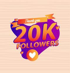 Thank you 20k followers congratulation banner vector